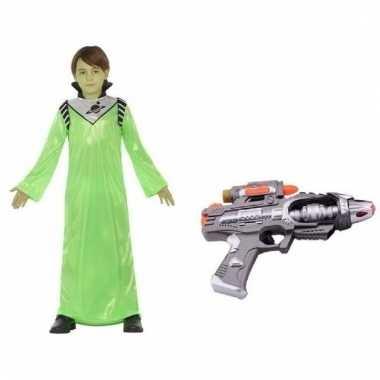 Aliens verkleedcarnavalskleding wapen kinderen helmond