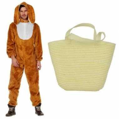 Bruin konijnen/hazen carnavalskleding maat (l) mandje volwassenen he