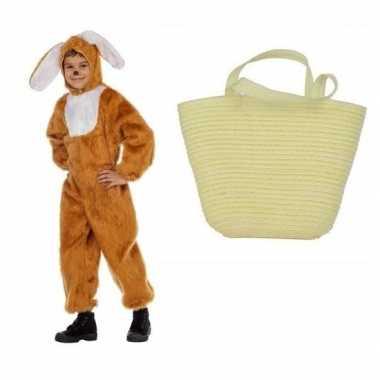 Bruin konijnen/hazen carnavalskleding maat mandje kinderen helmond