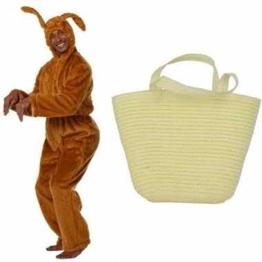Bruin konijnen/hazen carnavalskleding maat mandje volwassenen helmon
