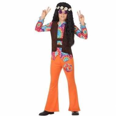 Carnaval/feest hippie verkleedcarnavalskleding oranje jongens helmon