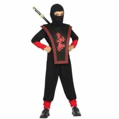 Carnaval/feest ninja verkleedcarnavalskleding zwart/rood jongens hel
