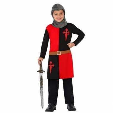 Carnaval/feest ridder lancelot verkleedcarnavalskleding rood/zwart k