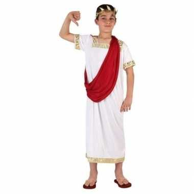 Carnaval/feest romeinse toga verkleedcarnavalskleding wit/rood jonge
