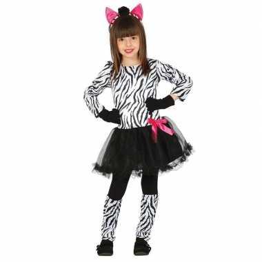 Carnaval/feest zebra verkleed carnavalskleding meisjes helmond