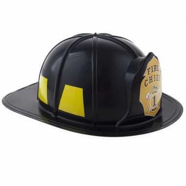 Carnavalskleding adult size brandweer helm zwart helmond