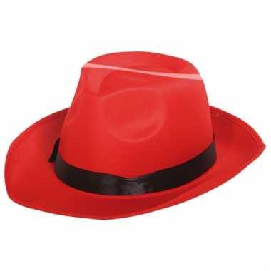 Carnavalskleding al capone hoed rood zwart helmond