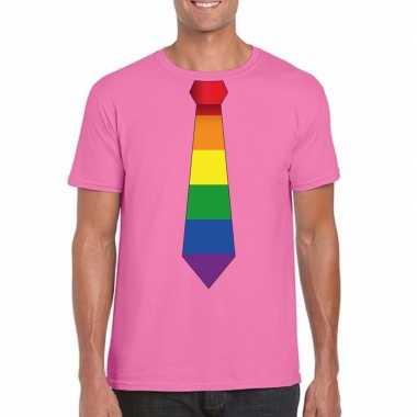 Carnavalskleding azalea roze t shirt regenboog vlag stropdas heren he