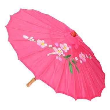 Carnavalskleding aziatische paraplu bloemen fuchsia helmond