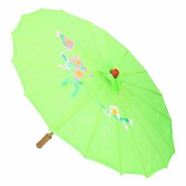 Carnavalskleding aziatische paraplu bloemen groen helmond