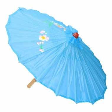 Carnavalskleding aziatische paraplu bloemen groot licht blauw helmond