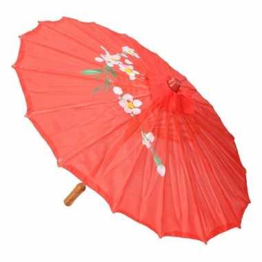 Carnavalskleding aziatische paraplu bloemen groot rood helmond
