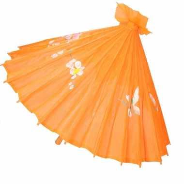 Carnavalskleding aziatische paraplu bloemen oranje helmond