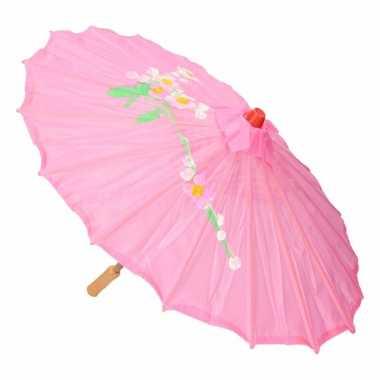 Carnavalskleding aziatische paraplu bloemen roze helmond