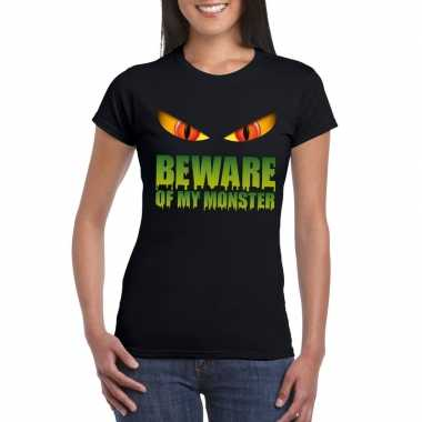 Carnavalskleding beware of my monster halloween t shirt zwart dames h