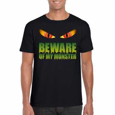 Carnavalskleding beware of my monster halloween t shirt zwart heren h