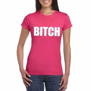 Carnavalskleding bitch tekst t-shirt roze dames helmond