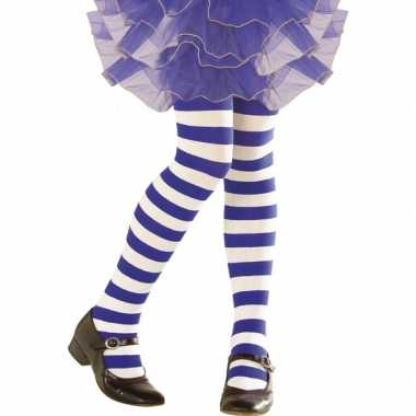 Carnavalskleding  Blauw wit gestreepte peuter panty helmond
