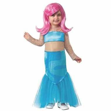 Carnavalskleding blauw zeemeermin jurkje meisjes helmond