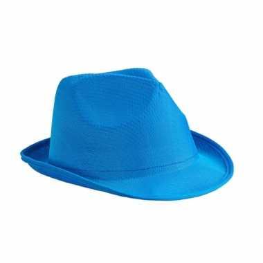Carnavalskleding blauwe festival hoedjes helmond