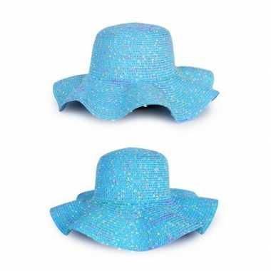 Carnavalskleding blauwe flaphoeden stro helmond