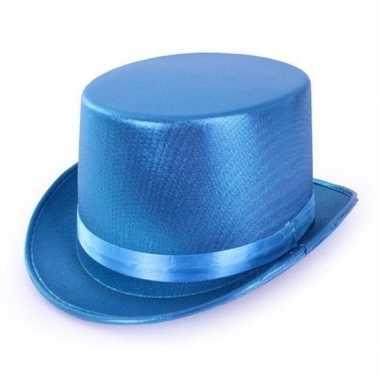 Carnavalskleding blauwe glimmende hoge hoed volwassenen helmond