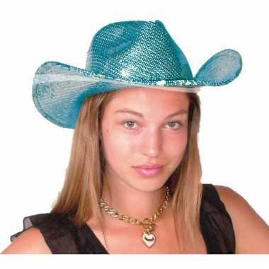 Carnavalskleding blauwe glitter cowboy hoeden deluxe helmond