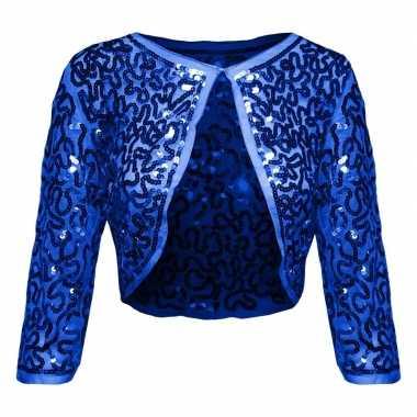 Carnavalskleding blauwe glitter pailletten disco bolero jasje dames h
