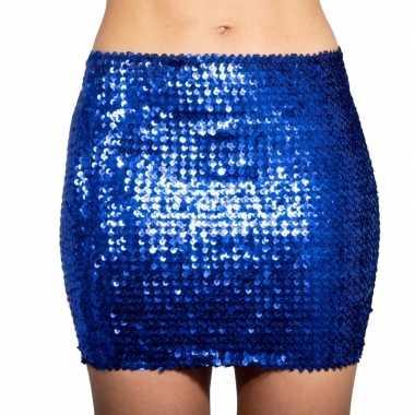 Carnavalskleding blauwe glitter pailletten disco rokje dames helmond