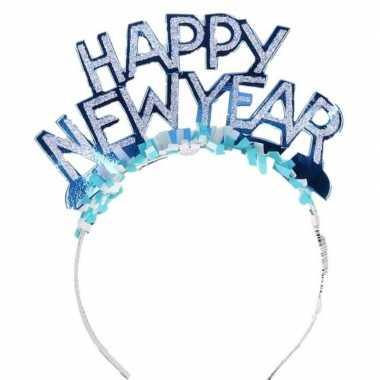 Carnavalskleding blauwe nieuwjaarsdiadeem volwassenen helmond