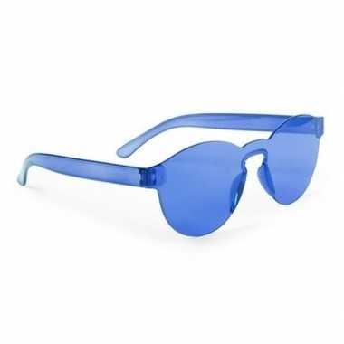 Carnavalskleding blauwe partybril volwassenen helmond