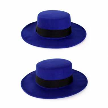 Carnavalskleding blauwe spanjaard hoed helmond