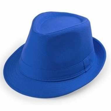Carnavalskleding blauwe trilby hoedjes volwassenen helmond