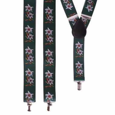Carnavalskleding bloemen bretels groen wit helmond