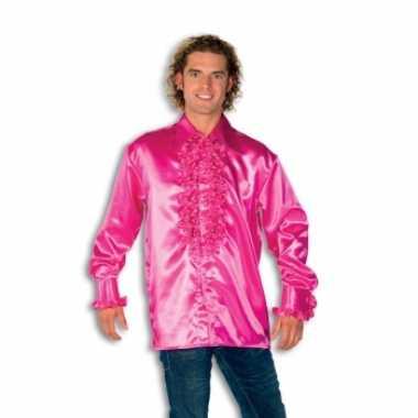 Carnavalskleding blouse roze rouches heren helmond