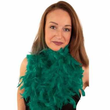 Carnavalskleding boa smaragd groen helmond