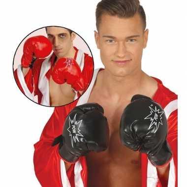 Carnavalskleding boks handschoenen rood volwassenen helmond