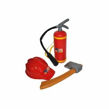 Carnavalskleding brandweer speelgoed verkleed set helmond