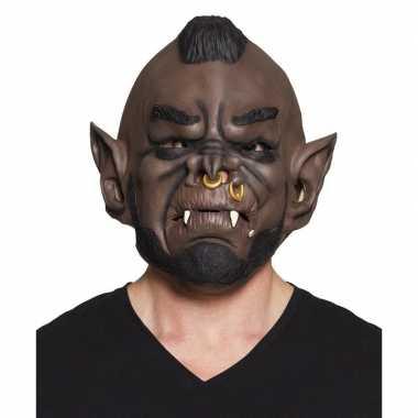 Carnavalskleding bruine ork horror masker latex helmond