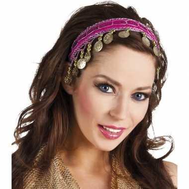 Carnavalskleding carnaval esmeralda buikdanseres hoofdband fuchsia ro