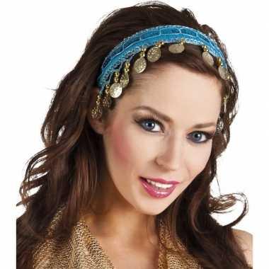 Carnavalskleding carnaval esmeralda buikdanseres hoofdband turquoise