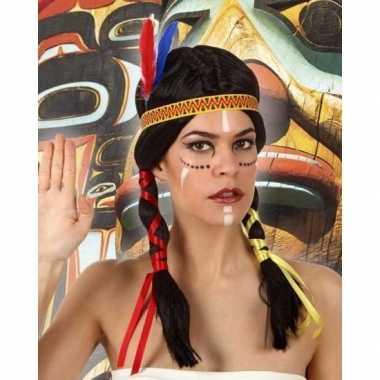 Carnavalskleding carnaval indianen pruik dames helmond