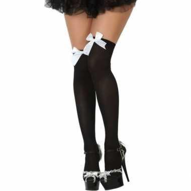 Carnavalskleding carnaval kousen zwart wit strikje dames helmond