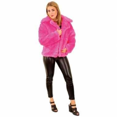 Carnavalskleding carnaval nep bontjas neon roze dames helmond