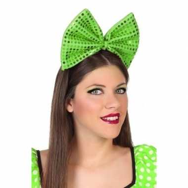 Carnavalskleding carnavalaccessoire diadeem groene strik helmond
