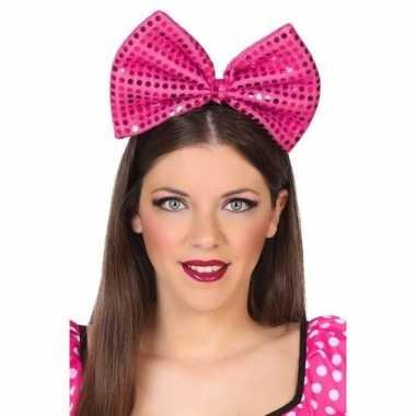 Carnavalskleding carnavalaccessoire diadeem roze strik helmond