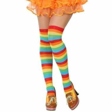 Carnavalskleding carnavalaccessoires gestreepte kousen dames helmond