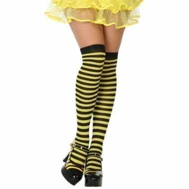 Carnavalskleding carnavalaccessoires gestreepte kousen zwart/geel dam