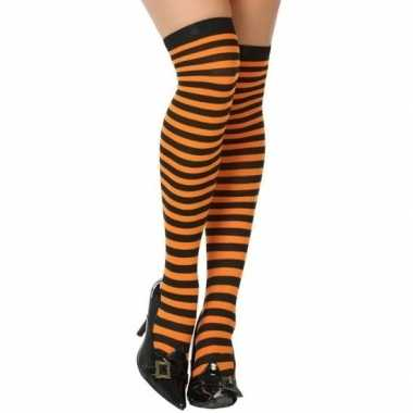 Carnavalskleding carnavalaccessoires gestreepte kousen zwart/oranje d