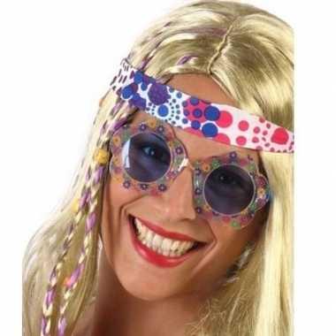 Carnavalskleding carnavalaccessoires hippie bril blauw volwassenen he